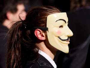 Source: Pierre-Selim (http://commons.wikimedia.org/wiki/File:Protest_ACTA_2012-02-11_-_Toulouse_-_03_-_Anonymous_girl_with_a_poney_tail.jpg)